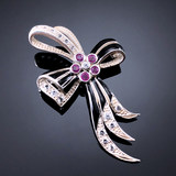 Joint jewelry European antique natural ruby TOPAZ 925 Sterling Silver Brooch Enamel orphan carving