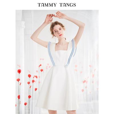 糖力2018夏季新款欧美女装白色压褶小飞袖连衣裙收腰显瘦A字裙