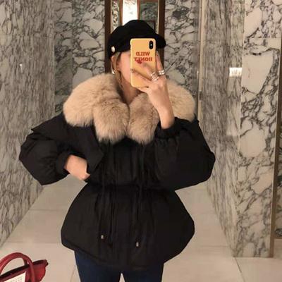 短款棉衣女2018韩国网红棉袄狐狸大毛领抽绳收腰显瘦羽绒服外套冬
