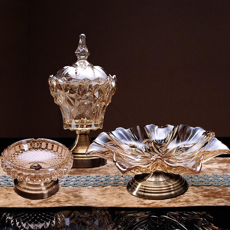 欧式果盘创意个性现代水果盆客厅茶几家用大号双层水晶玻璃水果盘