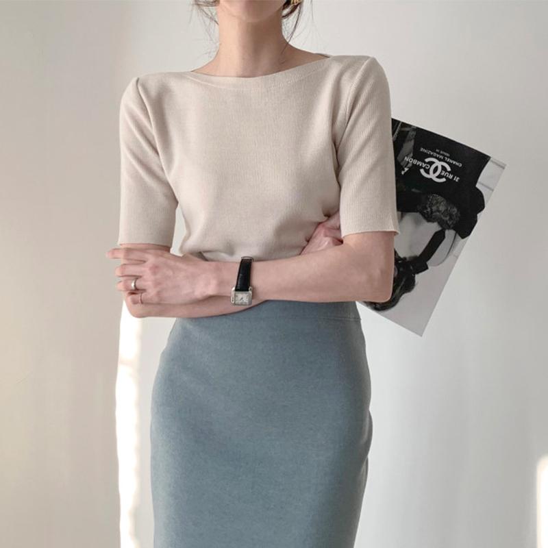 小香风冰丝中袖打底套头针织衫2019新款女春薄款半袖短款修身上衣