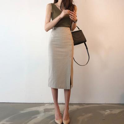 气质侧开叉裙子高腰半身裙2018新款女夏季chic包臀裙中长款一步裙