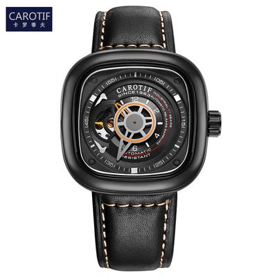 手表男機械表全自動防水大盤表商務時尚潮流男表學生方形手表有假貨嗎