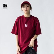 Sinostage舞邦纯色T恤 宽松中长款大码男女嘻哈舞蹈印花短袖