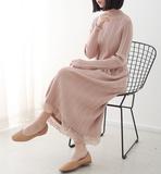复古CHIC半高领修身显瘦纯色过膝长裙女松紧腰拼接蕾丝针织连衣裙
