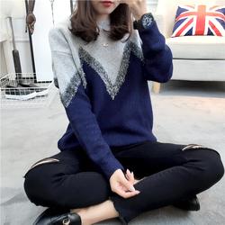 2017春款新款韩版圆领亮丝撞色套头针织衫宽松毛衣女装上衣学院风