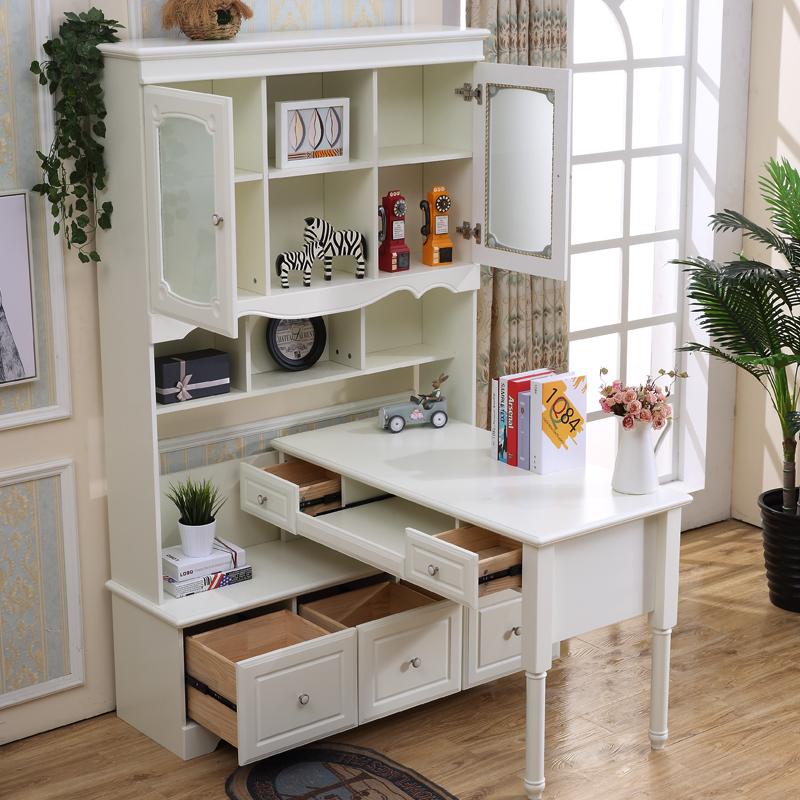 儿童白色电脑桌书柜书桌一体组合带书架拐角写字台转角台式墙角柜
