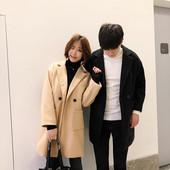 秋冬季新款呢子风衣男士中长款大衣韩版宽松情侣款bf加厚帅气外套
