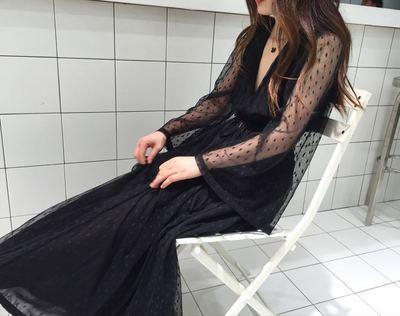 SINCE THEN原创设计黑色露腰深V长裙海边沙滩度假连衣裙 德黑兰