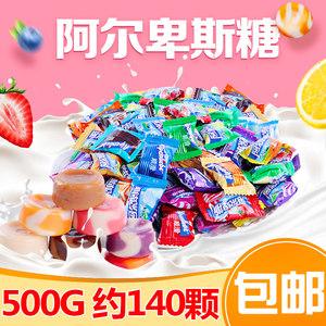 阿尔卑斯糖果牛奶硬糖散装500g棒棒糖混合水果味糖果喜糖零食批发