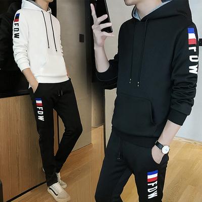 青少年卫衣男连帽衣服春秋季休闲套装学生韩版潮流运动外套两件套