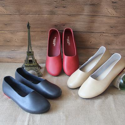 阿奈诗纯手工森系女鞋原创复古文艺女单鞋大码平底浅口真皮女船鞋