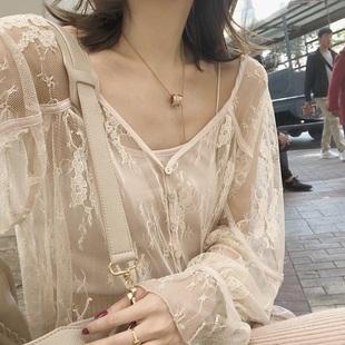 【Rain Col】早春美到骨子里 淡粉杏立体蕾丝罩衫吊带两件套