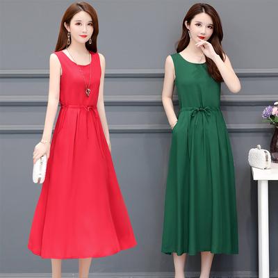 中老年夏装女无袖纯色背心长裙40-45-50岁中年妈妈棉绸连衣裙高贵
