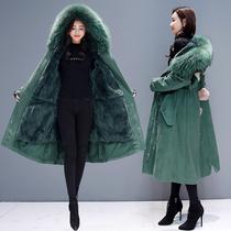 加绒棉衣女2018冬季新款韩版宽松显瘦加厚外套中长款过膝棉服棉袄