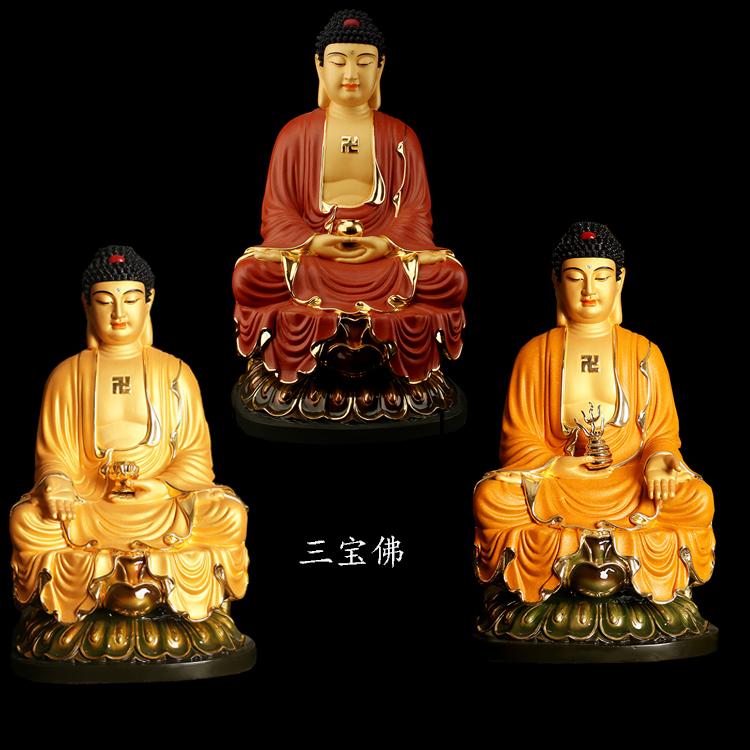 纯铜鎏金释迦牟尼佛、药师佛、阿弥陀佛摆件