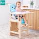 小乐娃儿童餐椅 实木多功能宝宝座椅 便携婴儿餐桌椅小孩吃饭坐椅