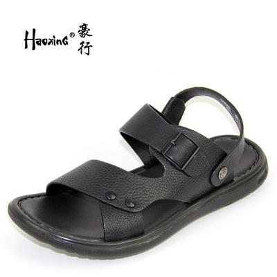 2018夏季新款豪行真皮舒适休闲男鞋18280605时尚平底沙滩凉鞋正品