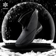 诺凡希冬季新款保暖男士棉鞋子 欧美中筒魔术贴防水雪地靴男12197