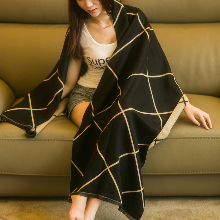 围巾女韩版双面格子学生围脖长披肩加厚两用秋冬季百搭保暖大披风