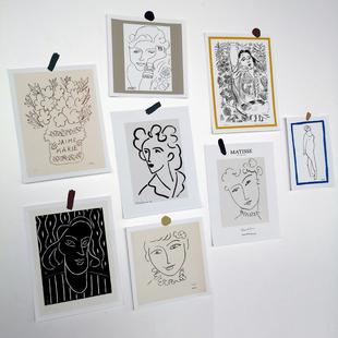 小海报 网格照片墙卡片装 韩国ins简约线条卡片 马蒂斯艺术卡片