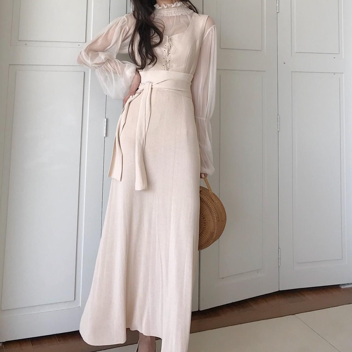 纯色针织高腰伞裙