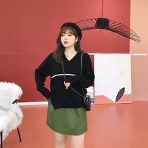 摩妮卡2018冬装新款胖mm宽松撞色毛衣大码女装显瘦V领长袖针织衫