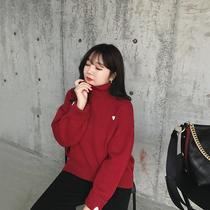 大码女装大红爱心刺绣高领保暖毛衣胖mm冬装摩妮卡2019新春款毛衫