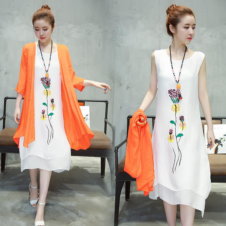 亚麻白色长裙连衣裙