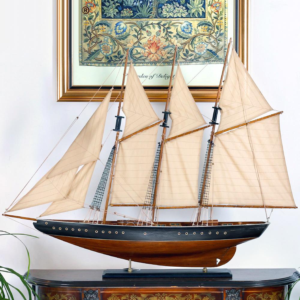 Snnei 帆船模型拼装木船摆件 实木质模型船工艺船一帆风顺1.1米