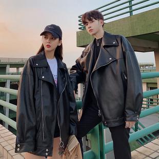 港风春季新款 机车皮衣男士 韩版 情侣装 青年学生外套皮夹克帅气潮流