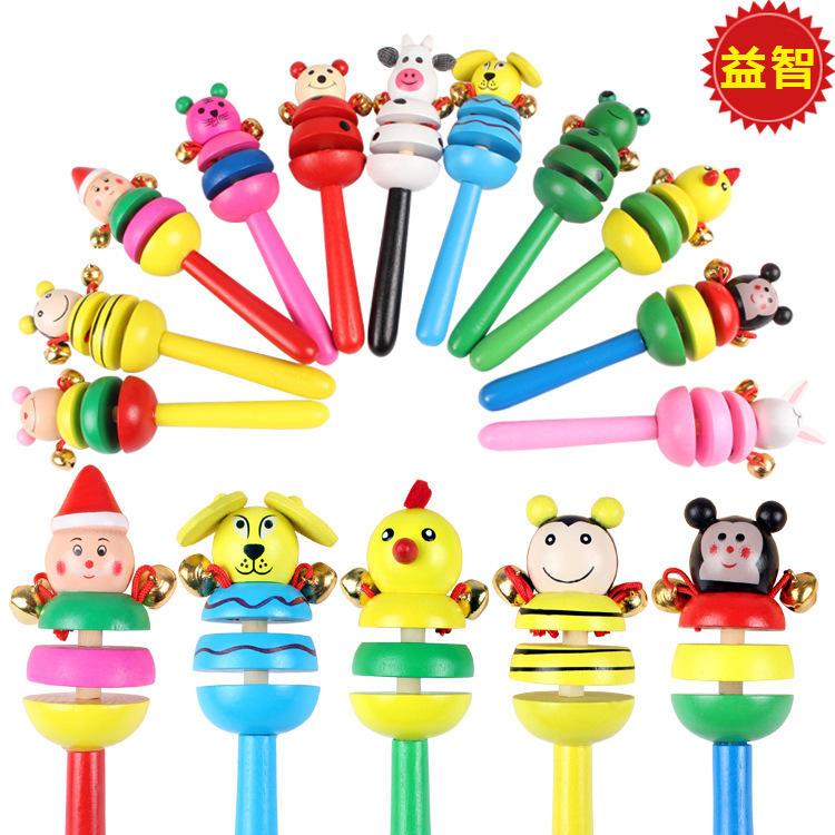 baby wooden toys Animal rattle 0 baby cartoon rattle 1 to beach selling 2