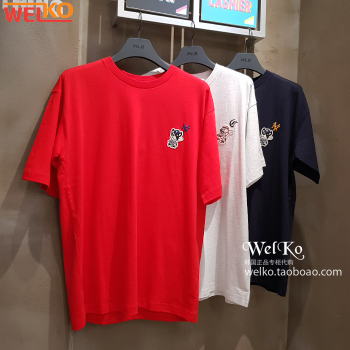 MLB韩国代购 19夏男女同款短袖T恤衫 圆领印花打底衫学生宽松上衣