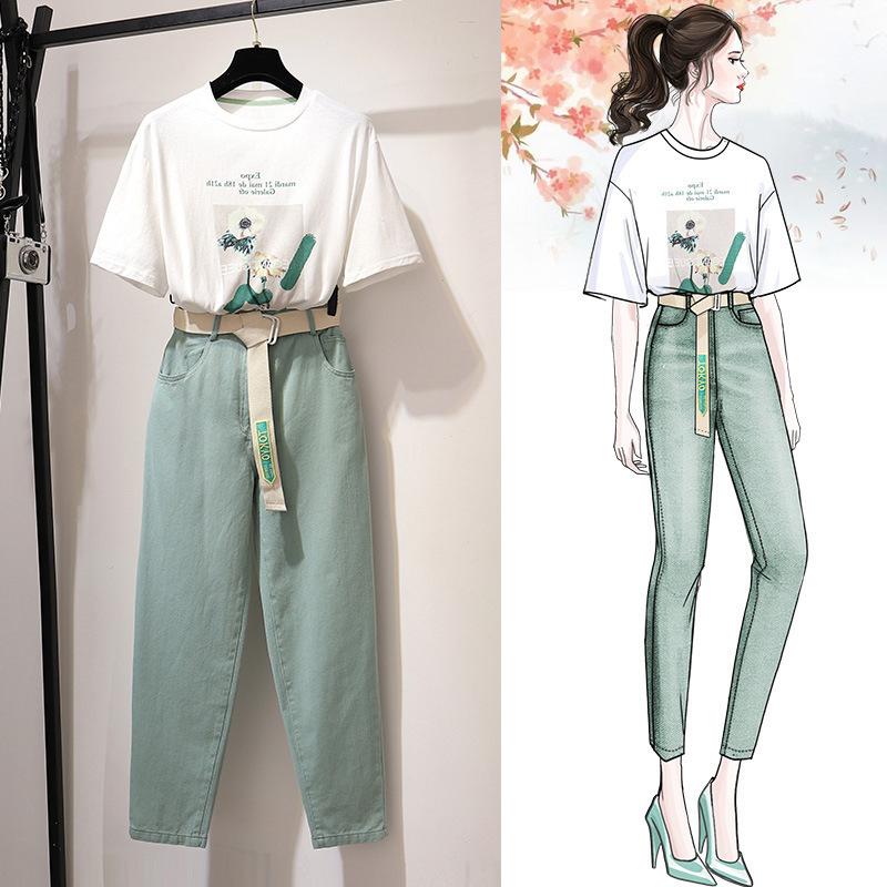 俏皮两件套法国小众女夏装2019新款套装网红小香风很仙的裤子显瘦