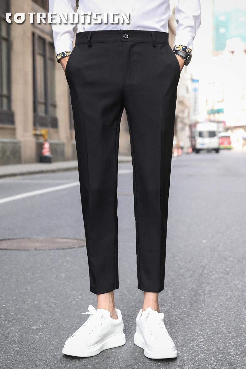 春夏九分裤休闲西裤男修身黑色裤子男垂感小脚韩版潮流直筒9分裤