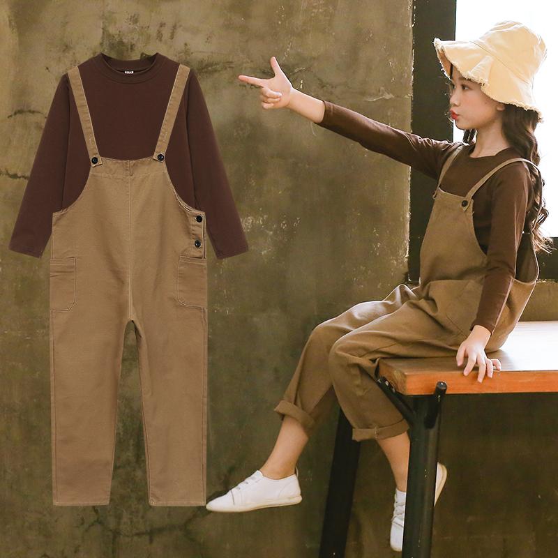 女童春装2019新款超洋气儿童装网红背带裤套装时尚中大童衣服春季