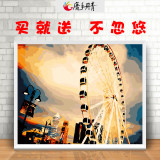 Diy digital oil painting hand-painted coloring cartoon characters landscape decoration painting living room simple oil painting