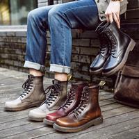 马丁靴男高帮秋季新款英伦风潮男士中帮马丁鞋复古皮靴短靴子情侣