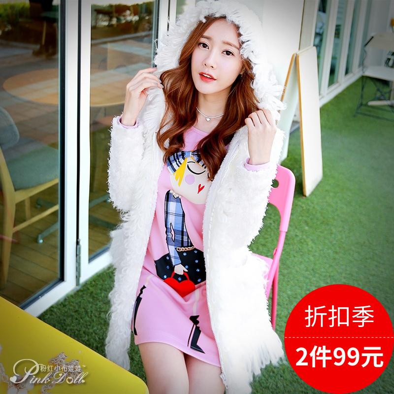 粉红小布娃娃棉衣外套女冬装新款潮女装白色连帽毛线流苏棉服