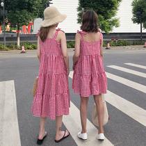 大萝莉大码女装2018夏装新款胖mm最爱连衣裙吊带长裙一字领背带裙
