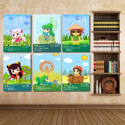 24节气幼儿园装饰画学校教室墙壁画幼教机构辅导班无框画楼梯挂画销量排行