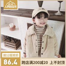 糖利爷爷女童冬季羊羔绒领子拼接棉外套儿童宝宝复古灯芯绒衬衫服