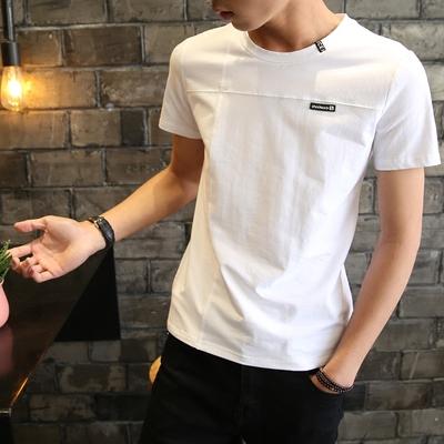夏季纯棉短轴男士短袖t恤丅血韩版潮流修身夏天衣服薄款体桖衫土