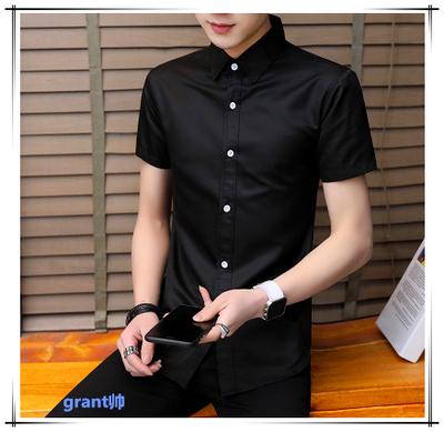 冰丝夏季弹性西装衬衫男短袖超薄款韩版修身免熨烫雪纺衬衫男商务