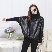 European Station 2009 Autumn and Winter New Large Size Handsome Leather Garment Plus Suede Women's Jacket Leather Loose Body-building Leather Jacket