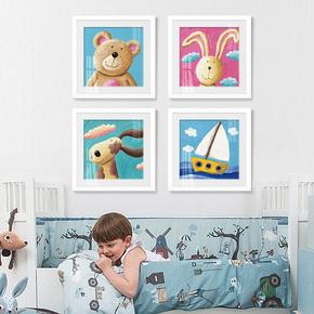 起贝 卡通儿童房挂画男孩女孩卧室床头画墙面装饰画现代简约壁画