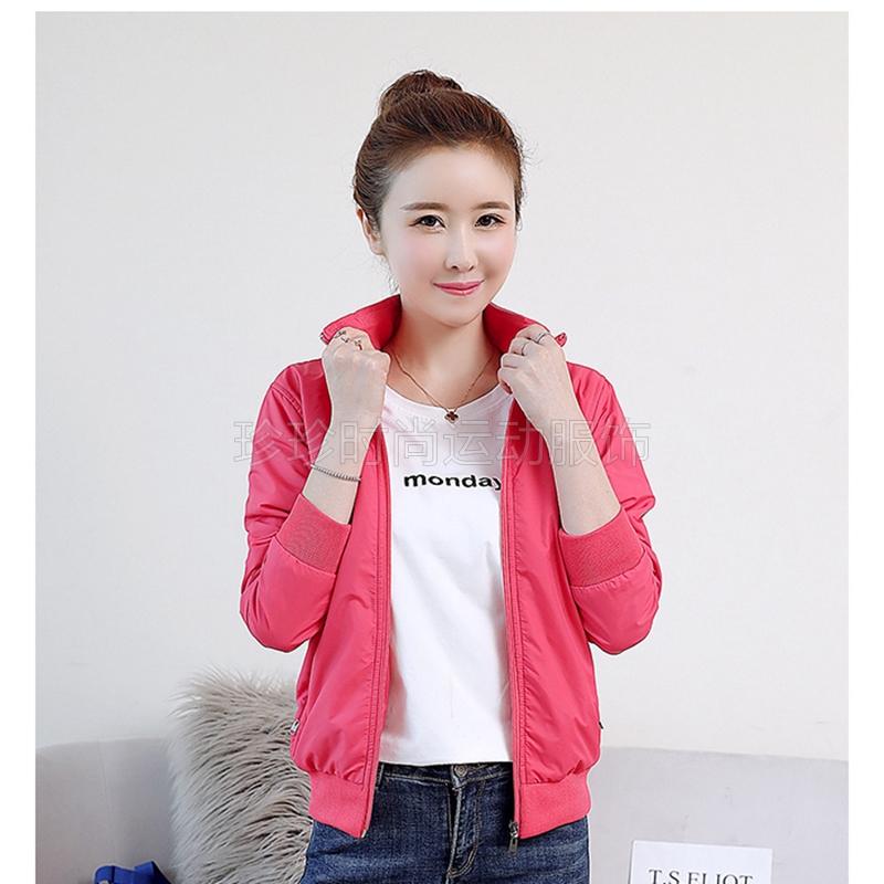 运动单件外套女春秋外出大码风衣夹克纯色女士户外运动服支持团购