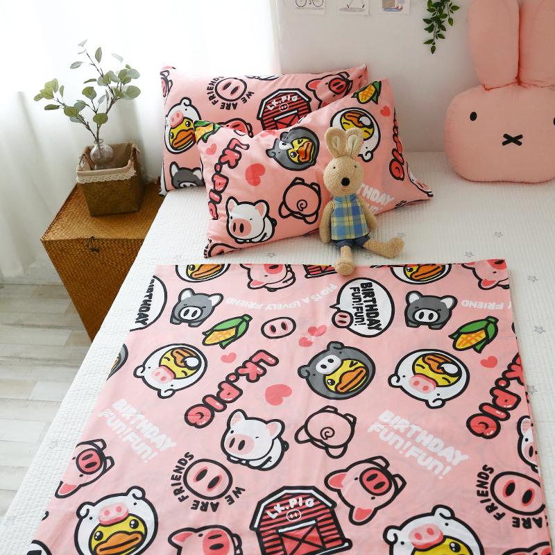 小米馍馍 | 粉色猪猪 | 纯棉猪猪单件床单床笠枕套被套卡通床品