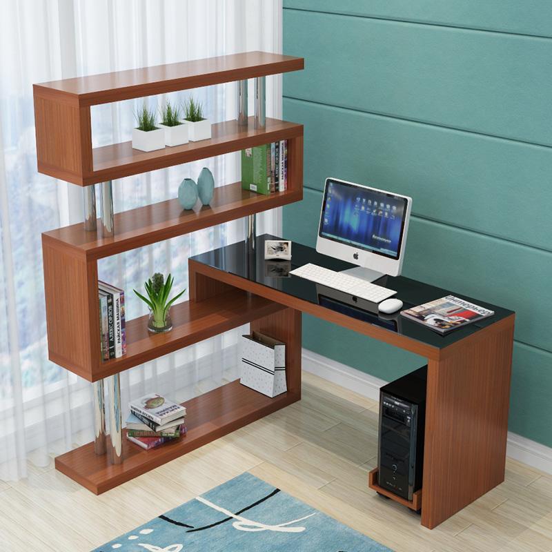 电脑台式桌子简约卧室转角书桌书架组合办公桌家用书柜一体写字桌