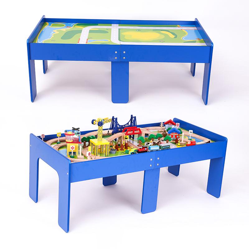 2018新款儿童电动托马斯火车轨道积木桌套装益智拼装玩具桌游戏桌